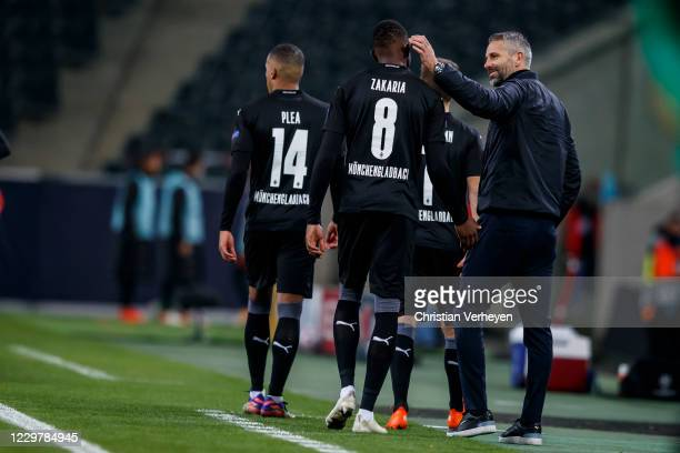 Alassane Plea Patrick Herrmann and Denis Zakaria of Borussia Moenchengladbach are coming on the pitch during the Group B UEFA Champions League match...
