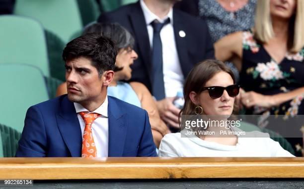 Alastair and Alice Cook in the Royal box on centre court on day four of the Wimbledon Championships at the All England Lawn Tennis and Croquet Club...