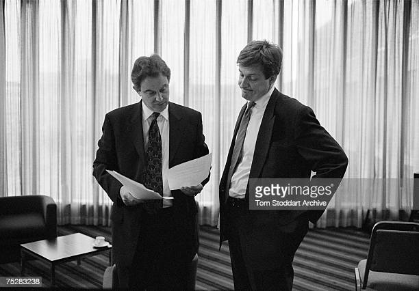 Alastair Campbell and Tony Blair working on a speech during Blair's successful 1997 General Election campaign to become Britain's first Labour Prime...