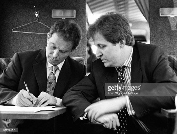 Alastair Campbell and Tony Blair workingon a speech during Blair's successful 1997 General Election campaign to become Britain's first Labour Prime...