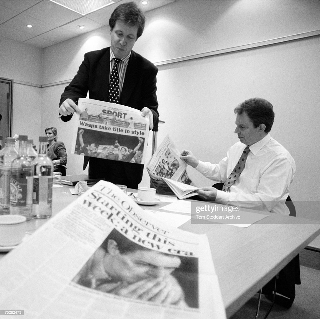 Alastair Campbell is pictured with Tony Blair three days before the general election during Blair's successful 1997 campaign to become Britain's first Labour Prime Minister since 1979.