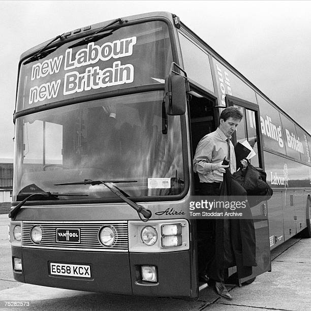 Alastair Campbell leaving Labour's 'battle bus' during Tony Blair's successful 1997 General Election campaign to become Britain's first Labour Prime...
