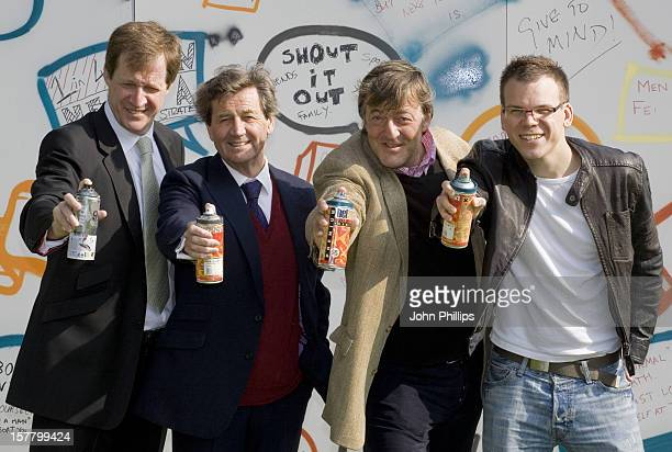 Alastair Campbell Melvyn Bragg Stephen Fry And Heart Fm Dj Matt Wilkinson Take Part In Graffiting A Wall In Westminster To Launch Mind'S New Campaign...