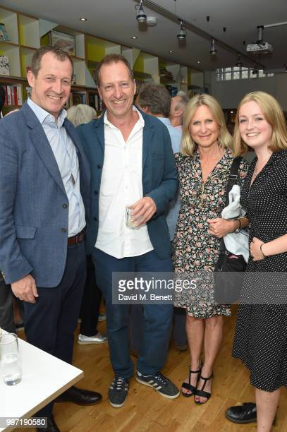 Alastair Campbell Tom Baldwin Fiona Millar and Franki Baldwin attend the launch of new book 'Ctrl Alt Delete' by Tom Baldwin at Ink 84 on July 12...