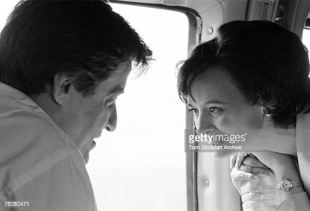 Alastair Campbell with Cherie Blair during Tony Blair's successful 1997 General Election campaign to become Britain's first Labour Prime Minister...