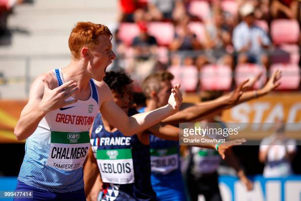 Alastair Chalmers of Great Britain celebrates winning bronze in the final of the men's 4x400m relay on day six of The IAAF World U20 Championships on...