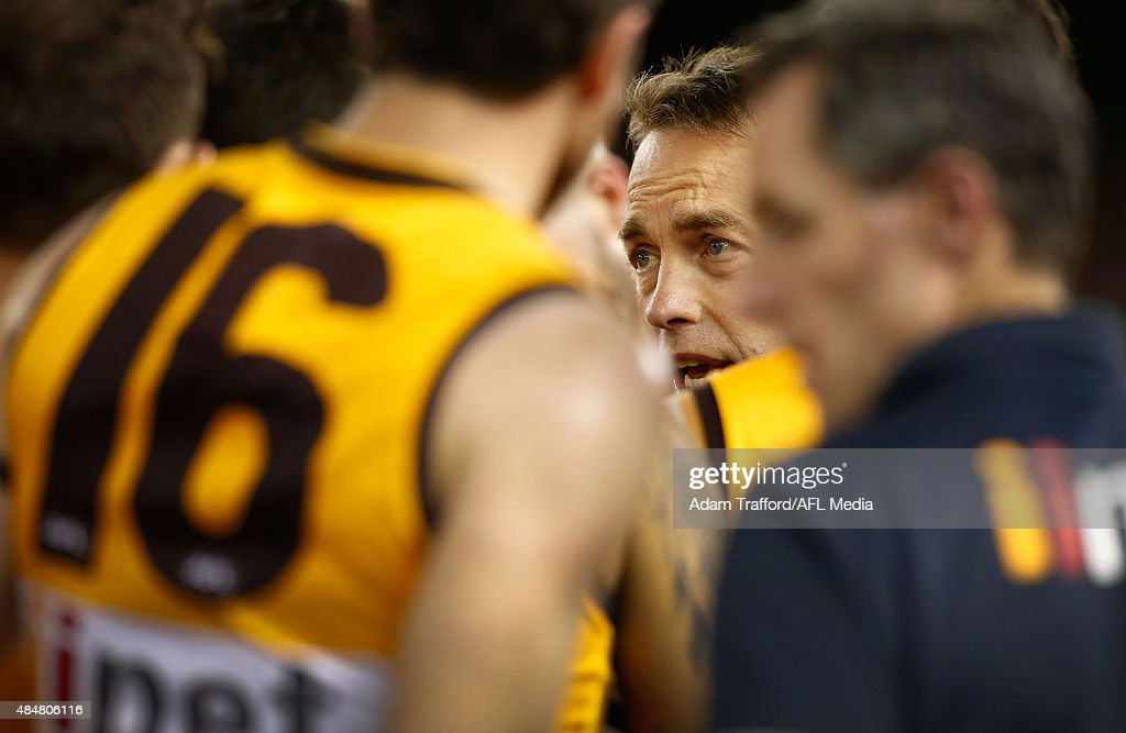 Alastair Clarkson, Senior Coach of the Hawks addresses his players during the 2015 AFL round 21 match between the Hawthorn Hawks and Port Adelaide Power at Etihad Stadium, Melbourne, Australia on August 21, 2015.