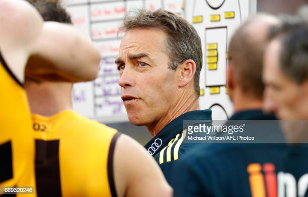 Alastair Clarkson Senior Coach of the Hawks addresses his players during the 2017 AFL round 04 match between the Hawthorn Hawks and the Geelong Cats...