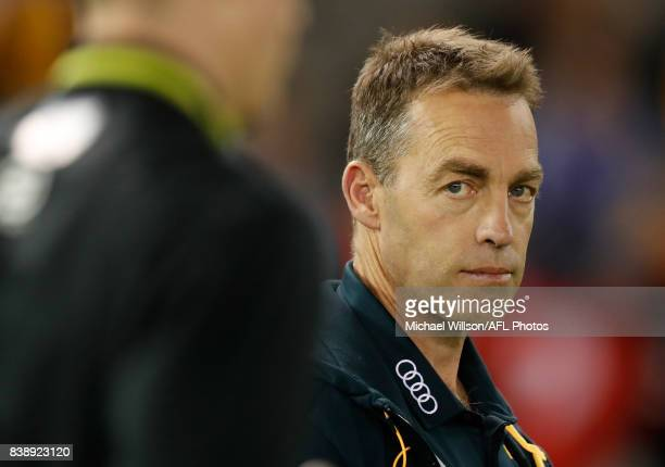 Alastair Clarkson Senior Coach of the Hawks looks on during the 2017 AFL round 23 match between the Hawthorn Hawks and the Western Bulldogs at Etihad...