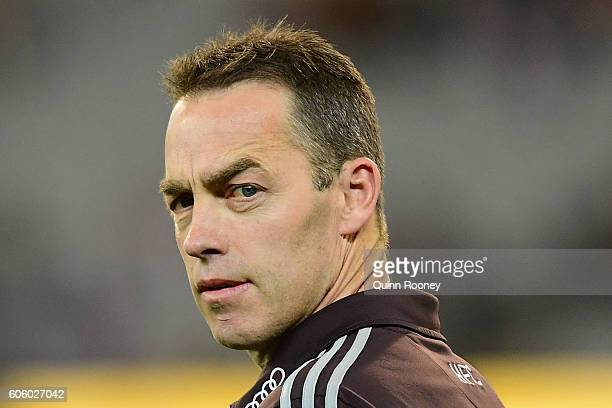 Alastair Clarkson the coach of the Hawks looks on during the second AFL semi final between Hawthorn Hawks and Western Bulldogs at Melbourne Cricket...