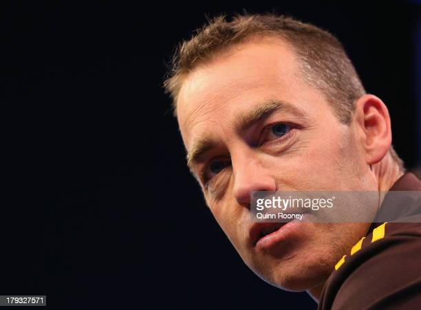Alastair Clarkson the coach of the Hawks speaks to the media during a Hawthorn Hawks AFL Finals Series Launch Media Session at Fox Sports on...