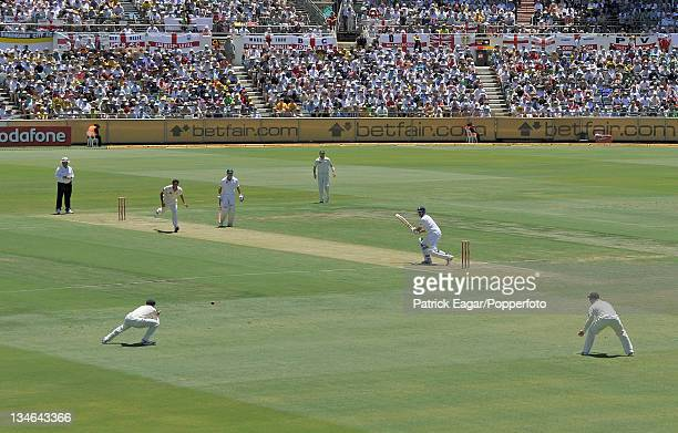 Alastair Cook about to be caught by Hussey off Johnson for 32 Australia v England 3rd Test Perth December 201011