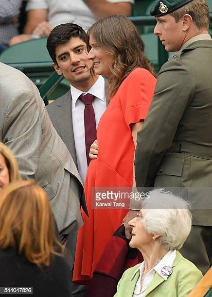 Alastair Cook and Alice Cook attend day five of the Wimbledon Tennis Championships at Wimbledon on July 01 2016 in London England