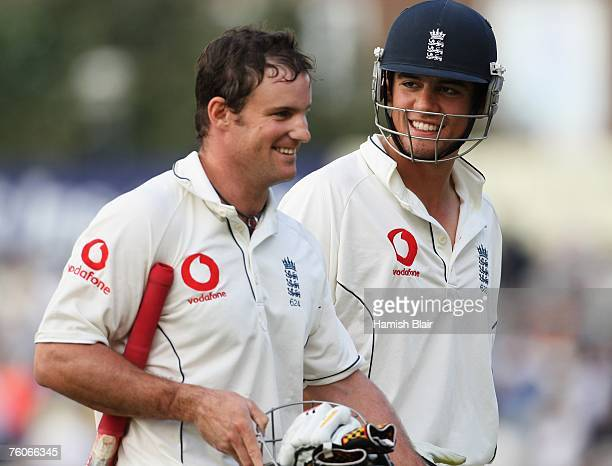 Alastair Cook and Andrew Strauss of England walk off at the end of play during day four of the Third Test match between England and India at the Oval...