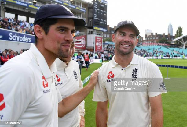 Alastair Cook and James Anderson of England celebrate winning the Specsavers 5th Test match between England and India at The Kia Oval on September 11...