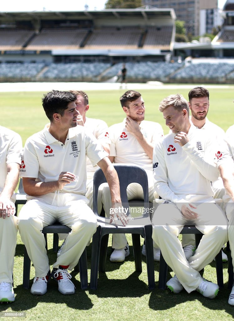Alastair Cook and Joe Root of England look on during a team photo before an England nets session at the WACA on November 1, 2017 in Perth, Australia.