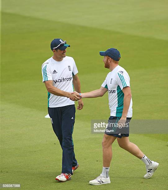 Alastair Cook and Jonny Bairstow of England before day three of the 3rd Investec Test match between England and Sri Lanka at Lords Cricket Ground on...