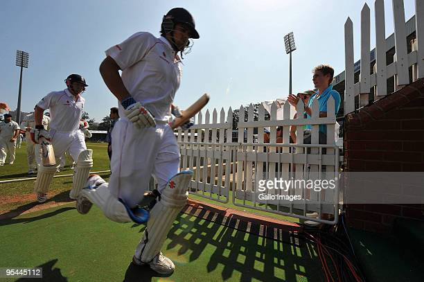 Alastair Cook and Paul Collingwood of England leave the field for tea with an unbroken partnership of 126 runs during day 3 of the 2nd test match...