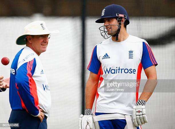 Alastair Cook and Trevor Bayliss of England look on during England nets and training session at Sahara Stadium Kingsmead on December 25 2015 in...