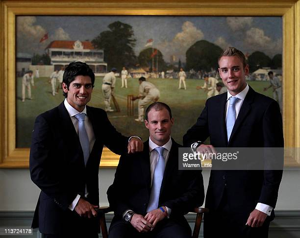 Alastair Cook Andrew Strauss and Stuart Broad pose for a picture in the Long Room after a press conference at Lords on May 5 2011 in London England...