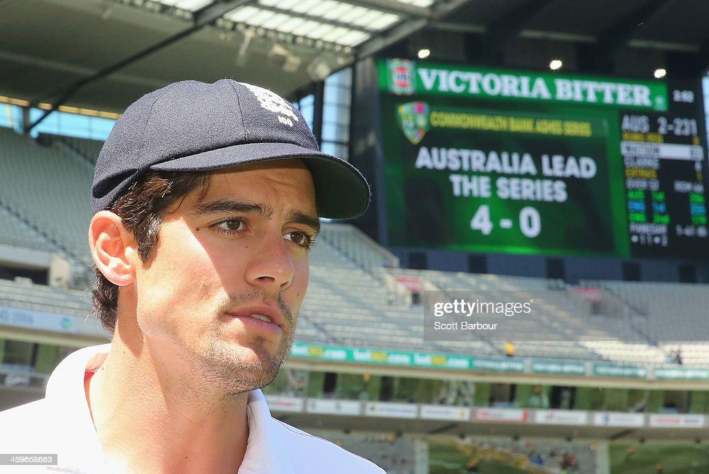 Alastair Cook, captain of England leaves the field after losing the match during day four of the Fourth Ashes Test Match between Australia and England at Melbourne Cricket Ground on December 29, 2013 in Melbourne, Australia.
