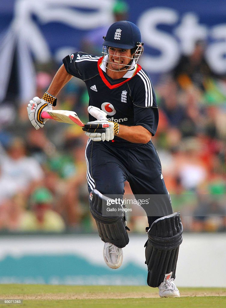 Alastair Cook captain of England runs hard for a single during the 2nd Twenty20 international match between South Africa and England at SuperSport Park Stadium on November 15, 2009 in Centurion, South Africa.