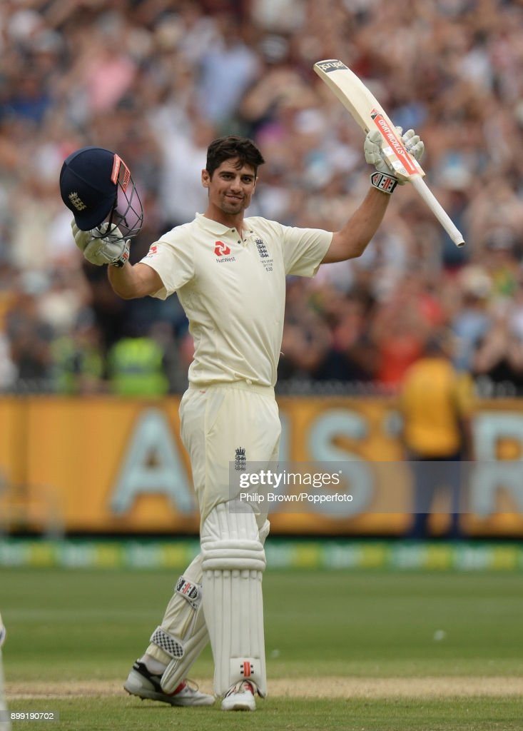 Alastair Cook celebrates reaching his double century during day three of the Fourth Test Match in the 2017/18 Ashes series between Australia and England at Melbourne Cricket Ground on December 28, 2017 in Melbourne, Australia.