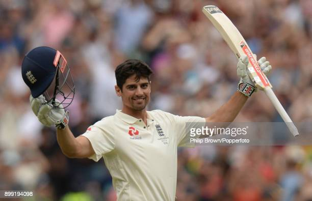 Alastair Cook celebrates reaching his double century during day three of the Fourth Test Match in the 2017/18 Ashes series between Australia and...