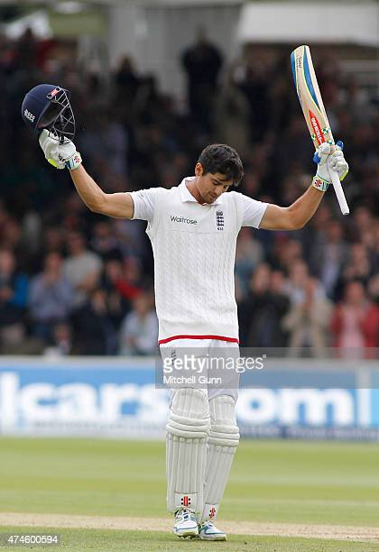 Alastair Cook celebrates scoring a century during day four of the 1st Investec Test match between England and New Zealand at Lord's Cricket Ground on...