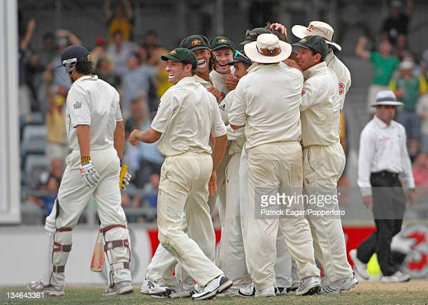 Alastair Cook departs after being caught by Adam Gilchrist off Glenn McGrath for 116 Australia v England 3rd Test Perth Dec 06