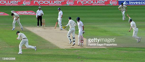 Alastair Cook is caught by Michael Clarke off Marcus North England v Australia 5th Test The Oval Aug 09