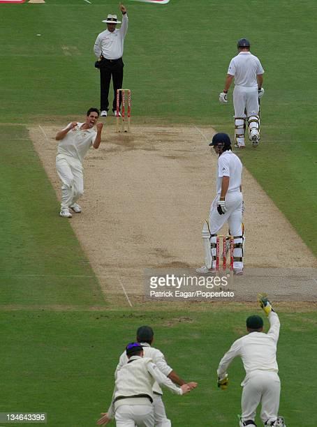 Alastair Cook is lbw to Mitchell Johnson England v Australia 1st Test Cardiff Jul 09