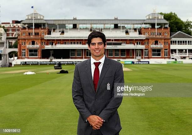 Alastair Cook is photographed in front of the Lord's pavillion as he was announced as the new England test cricket captain following Andrew Strauss's...