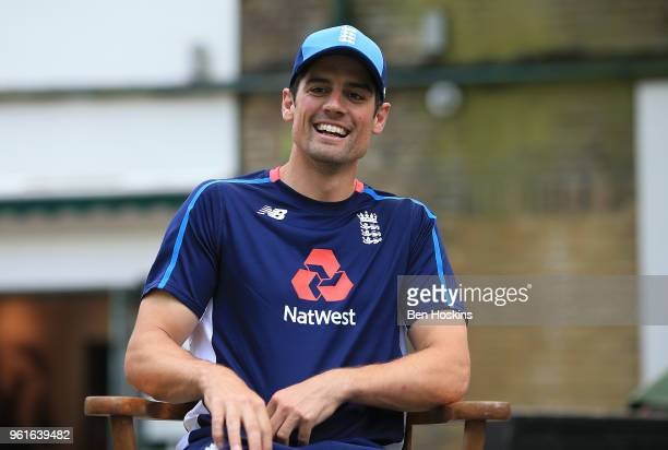 Alastair Cook laughs during the ECB Kids Press Conference at Lord's Cricket Ground on May 22 2018 in London England