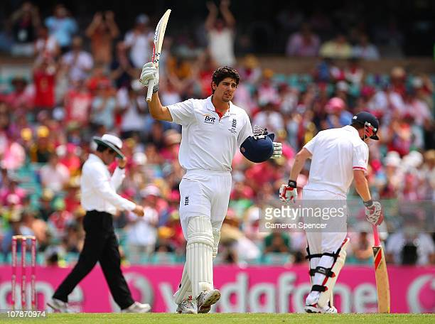 Alastair Cook of England acknowledges the crowd after scoring a century during day three of the Fifth Ashes Test match between Australia and England...