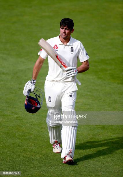 Alastair Cook of England acknowledges the crowd as he leaves the field in his final Test innings after being dismissed by Hanuma Vihari of India...
