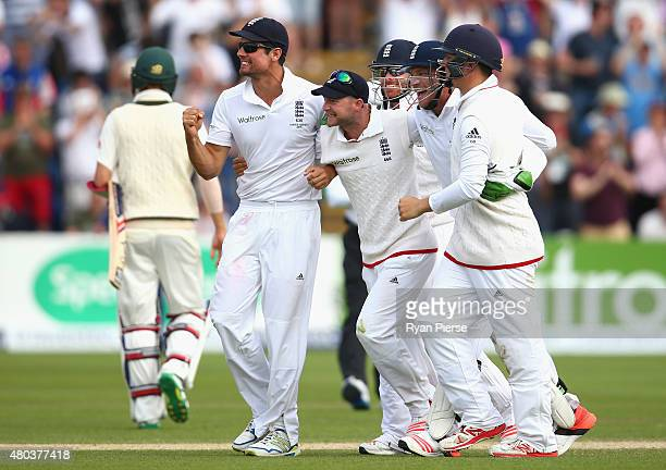 Alastair Cook of England and England players celebrate victory during day four of the 1st Investec Ashes Test match between England and Australia at...