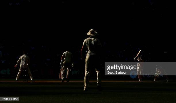 Alastair Cook of England bats against the bowling of Steve Smith of Australia in the final over of the day during day two of the Fourth Test Match in...