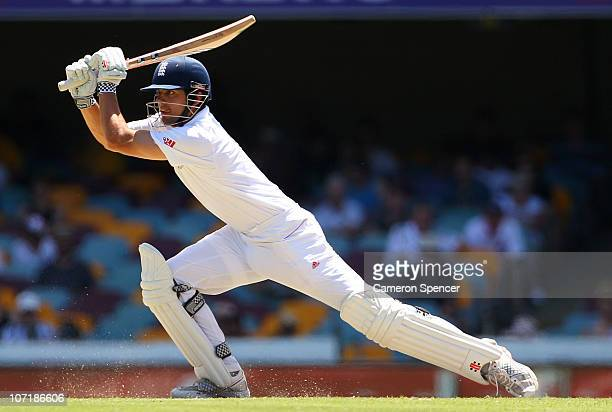 Alastair Cook of England bats during day five of the First Ashes Test match between Australia and England at The Gabba on November 29 2010 in...