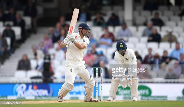 Alastair Cook of England bats during day four of the Specsavers 5th Test match between England and India at The Kia Oval on September 10 2018 in...