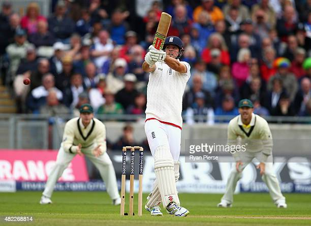 Alastair Cook of England bats during day one of the 3rd Investec Ashes Test match between England and Australia at Edgbaston on July 29 2015 in...