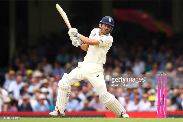 Alastair Cook of England bats during day one of the Fifth Test match in the 2017/18 Ashes Series between Australia and England at Sydney Cricket...