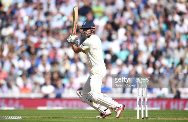 Alastair Cook of England bats during day one of the Specsavers 5th Test between England and India at The Kia Oval on September 7 2018 in London...