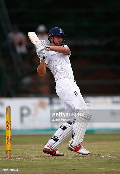 Alastair Cook of England bats during day one of the tour match between South Africa A and England at City Oval on December 20, 2015 in...