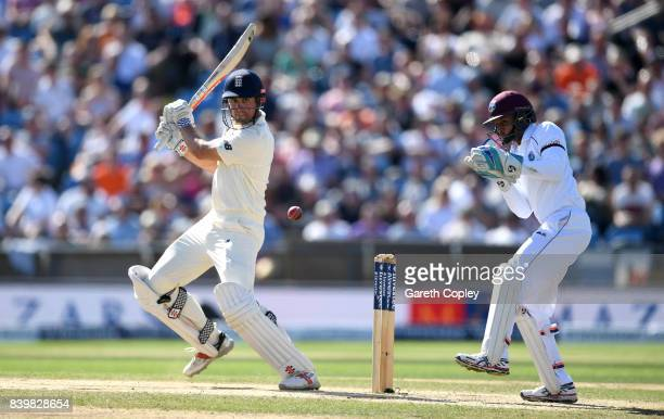Alastair Cook of England bats during day three of the 2nd Investec Test between England and the West Indies at Headingley on August 27 2017 in Leeds...