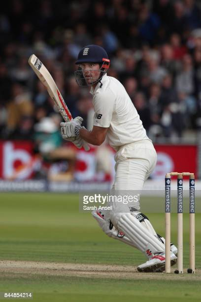 Alastair Cook of England bats during day three of the 3rd Investec Test match between England and West Indies at Lord's Cricket Ground on September 9...