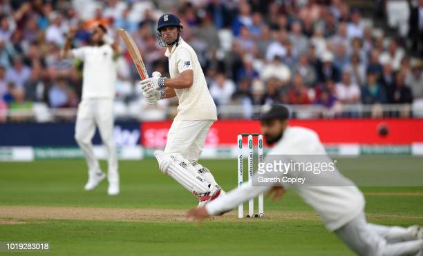 Alastair Cook of England bats during day two of the Specsavers 3rd Test match between England and India at Trent Bridge on August 19 2018 in...