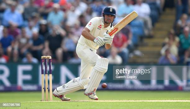 Alastair Cook of England bats during the 2nd NatWest Test match between England and Pakistan at Headingley on June 1 2018 in Leeds England