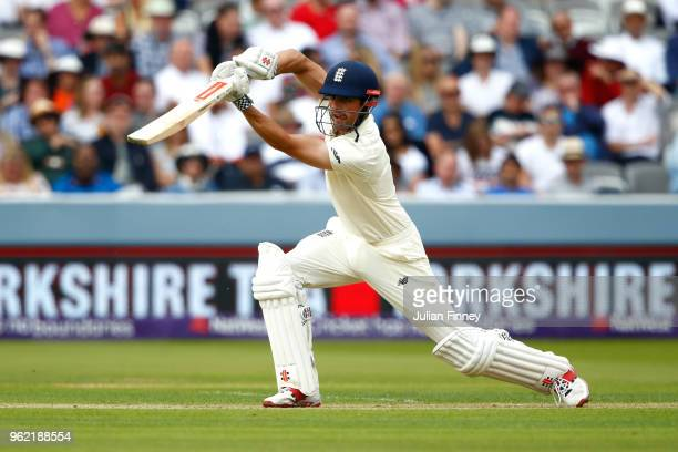 Alastair Cook of England bats during the NatWest 1st Test match between England and Pakistan at Lord's Cricket Ground on May 24 2018 in London England
