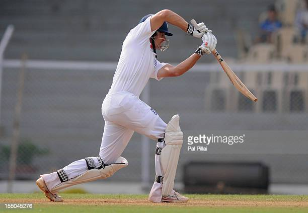 Alastair Cook of England bats during the second day of the first practice match between England and India 'A' at the CCI ground, on October 31, 2012...